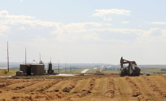 Oil rig and fracking tower